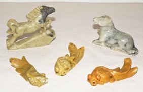 FIVE CARVED SOAPSTONE FIGURES