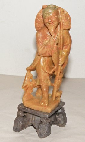 16: CARVED SOAPSTONE OF A FISHERMAN