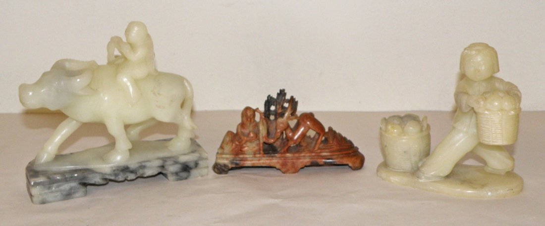 17: THREE CARVED SOAPSTONE FIGURES WITH PEOPLE