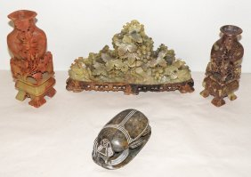 19: FOUR PIECES OF CARVED SOAPSTONE