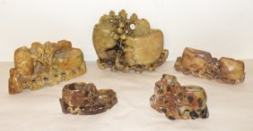 22: FIVE PIECES OF CARVED SOAPSTONE