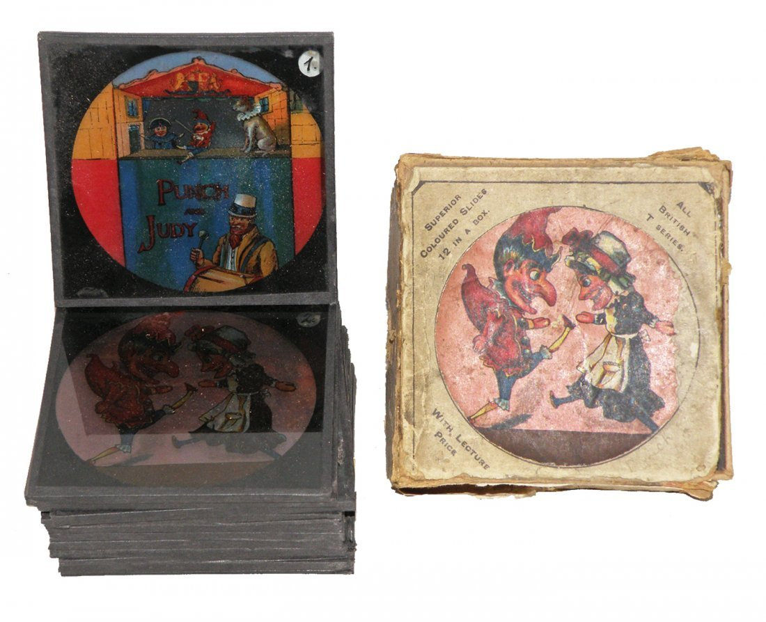 198: BOXED SET OF PUNCH & JUDY MAGIC LANTERN SLIDES