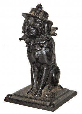 CAST IRON FIGURAL MATCH HOLDER OF TOBY