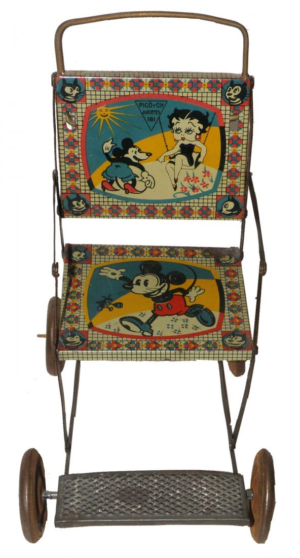 216: BETTY BOOP AND MICKEY MOUSE TIN LITHO STROLLER