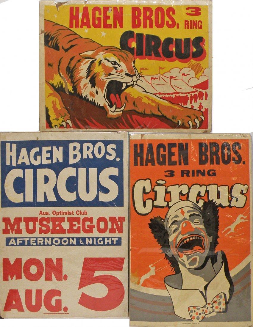 513: THREE HAGEN BROS CIRCUS POSTERS
