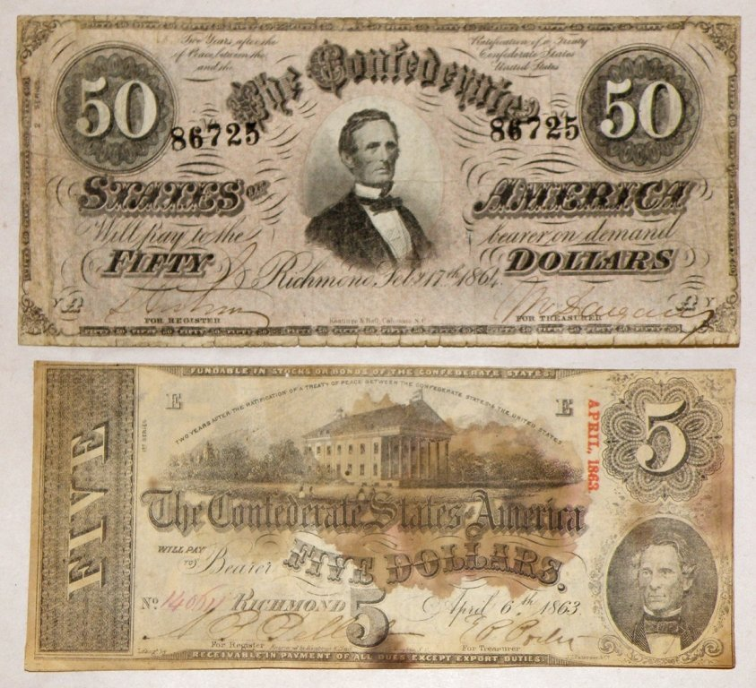 26: TWO CONFEDERATE BILLS