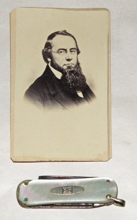POCKET KNIFE AND CDV OF EDWIN STANTON