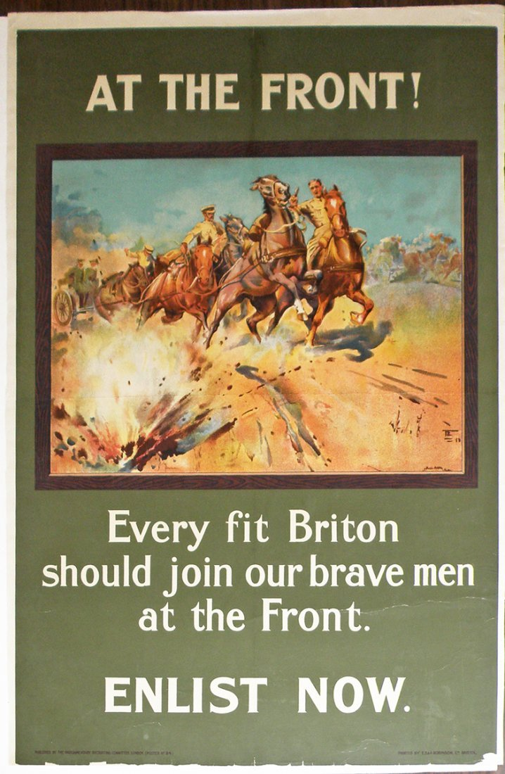 262: LINEN MOUNTED WWI BRITISH RECRUITING POSTER