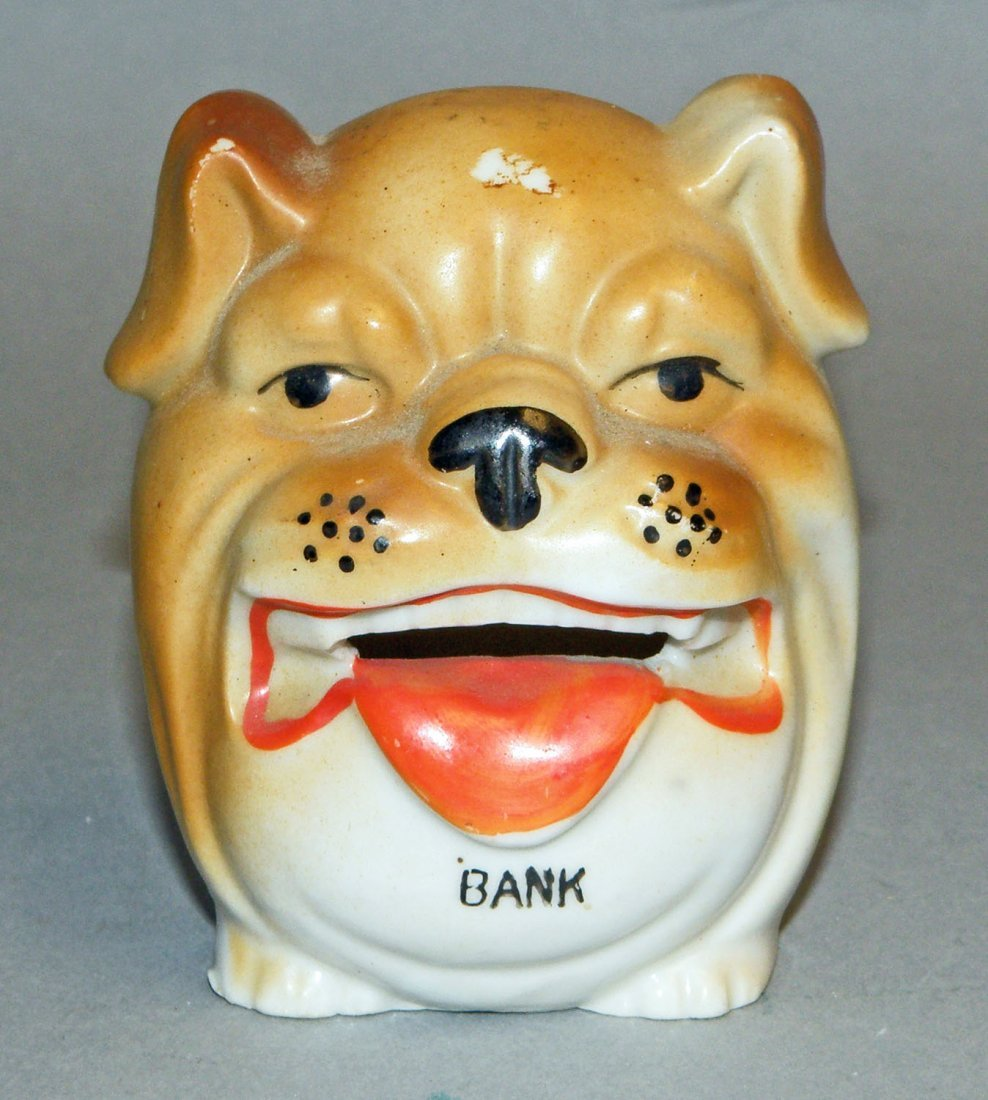12: PORCELAIN BULL DOG FACE STILL BANK