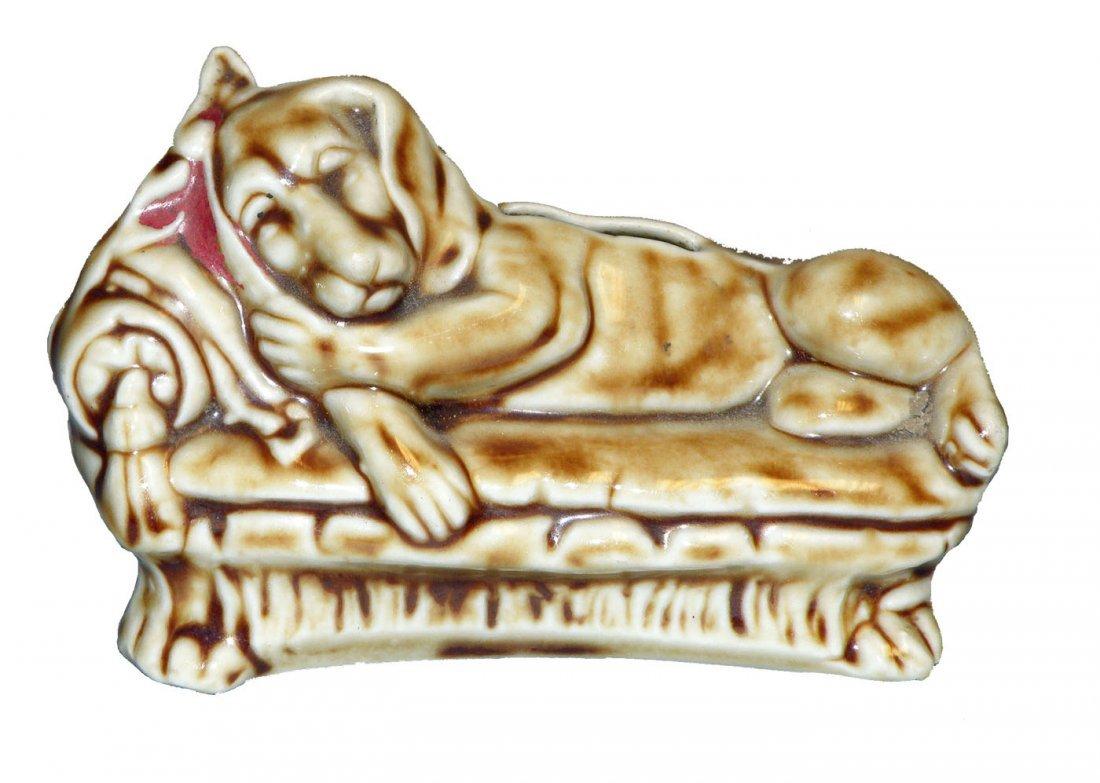 16: SLEEPING DOG ON BED PORCELAIN STILL BANK