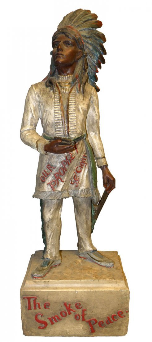 """179: COUNTER TOP """"OUR PROPHET"""" CIGAR STORE INDIAN"""