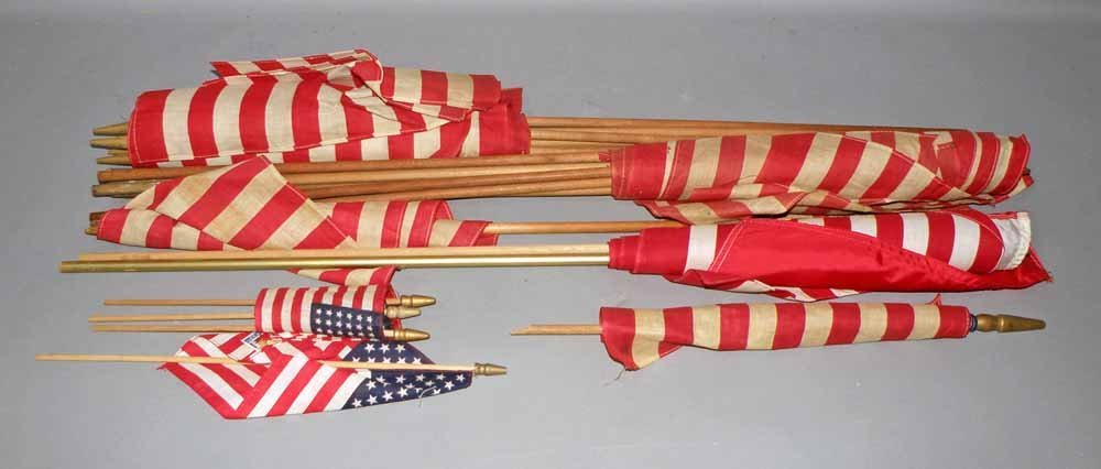 A GROUP OF AMERICAN FLAGS