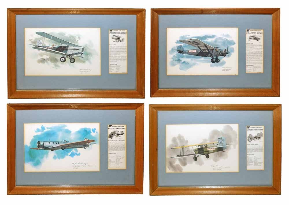 FRAMED SET OF UNITED AIRLINES LITHOGRAPHS