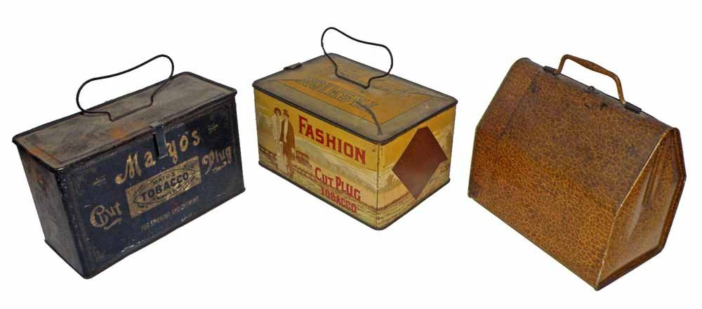 THREE EARLY TOBACCO TINS