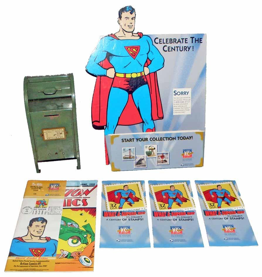 STEEL MAILBOX BANK WITH SUPERMAN STAMPS