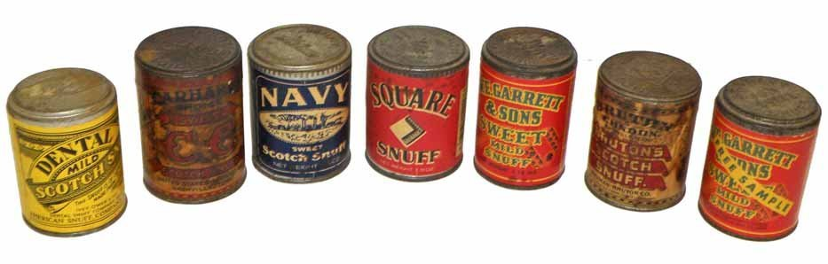 SEVEN SAMPLE SIZE SNUFF TINS