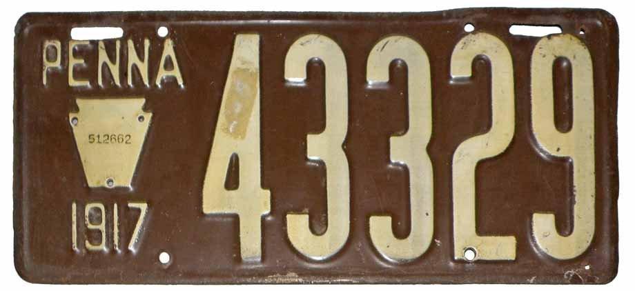 1917 PENNSYLVANIA LICENSE PLATE