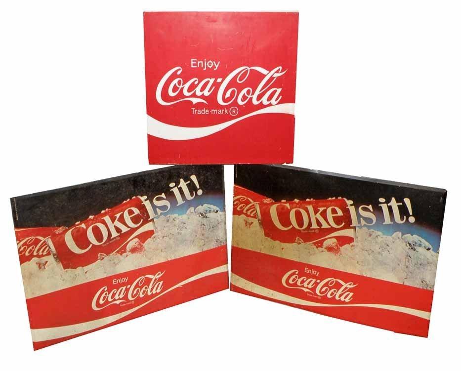 THREE COCA COLA SIGNS