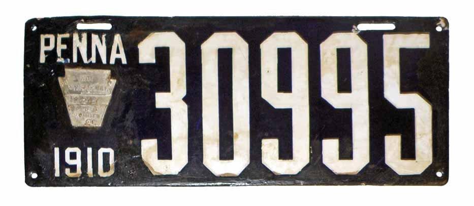 1910 PORCELAIN PENNA LICENSE PLATE
