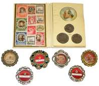 SIX RELIQUARIES AND A POPE PIUS XII SOUVENIR BOOKLET