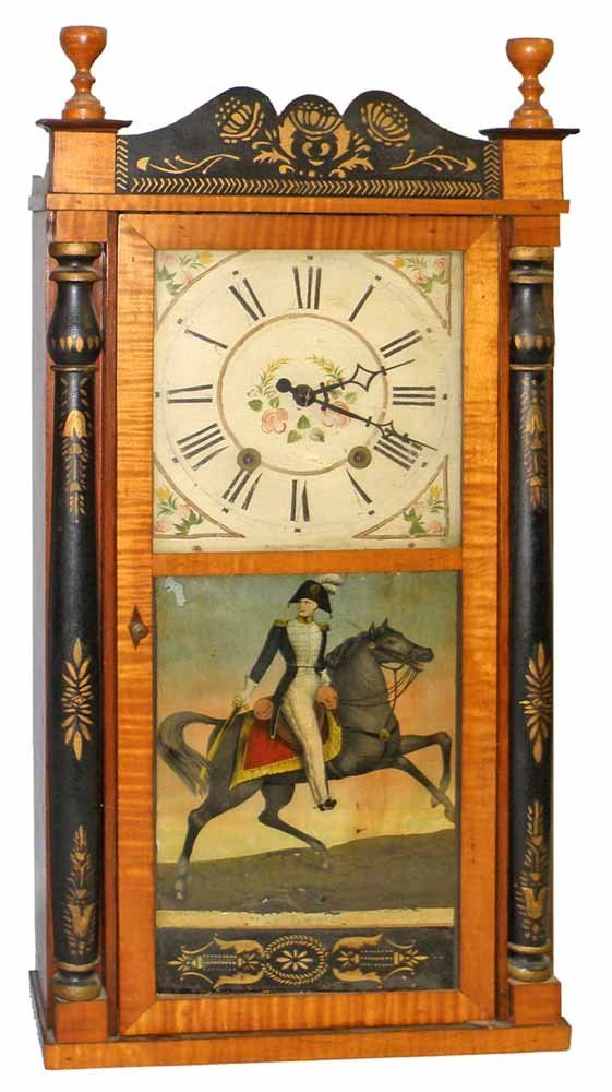 RARE. PILLAR AND SCROLL CLOCK BY ELISHA HOTCHKISS