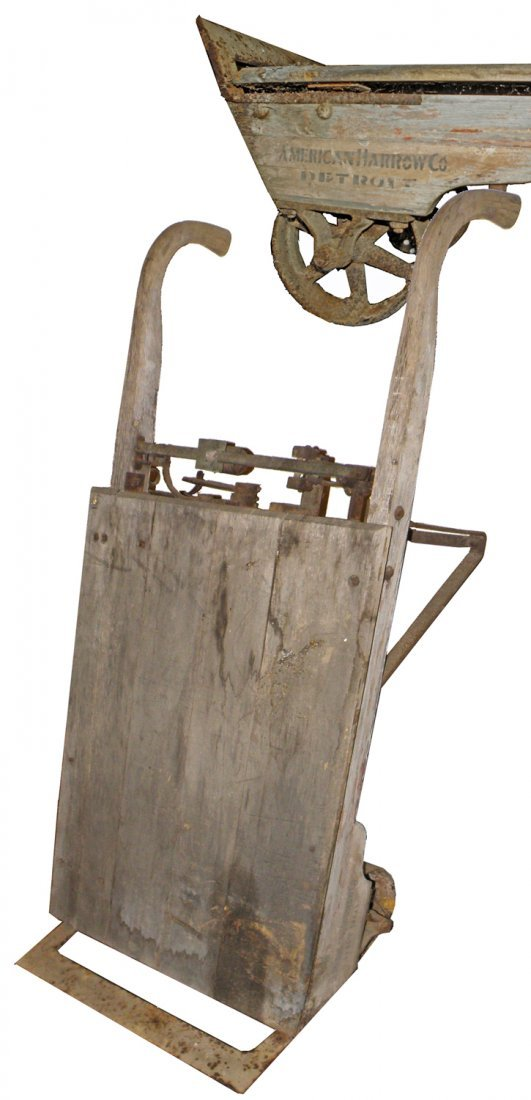 ANTIQUE HAND CART WITH BUILT IN SCALE