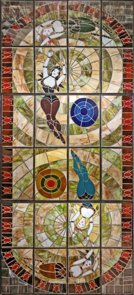 LARGE CUSTOM STAINED GLASS CEILING OF FEMALE ACROBATS