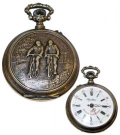 RARE EARLY BICYCLIST POCKETWATCH