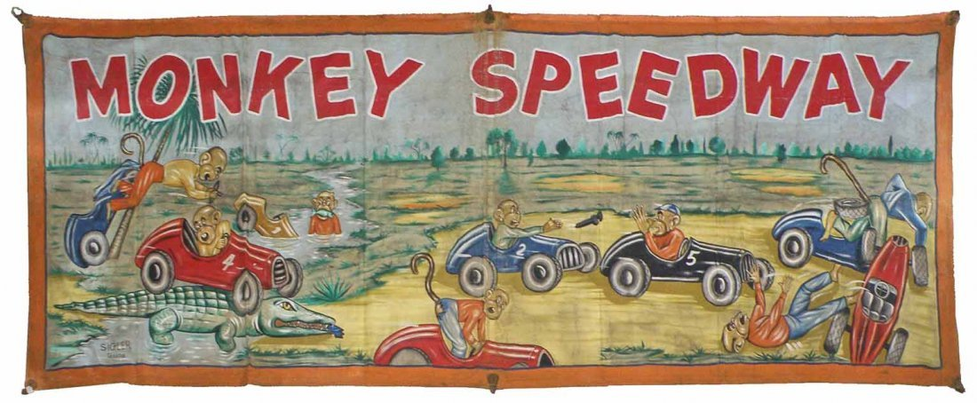 "MONKEY SPEEDWAY BANNER ""THE RACE"""