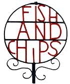 WROUGHT IRON FISH AND CHIP SIGN