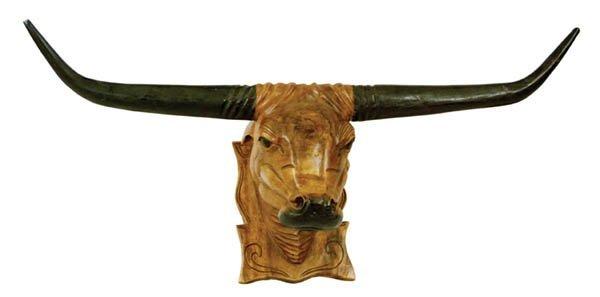 3: Folk Art Carved Wooden Steerhead