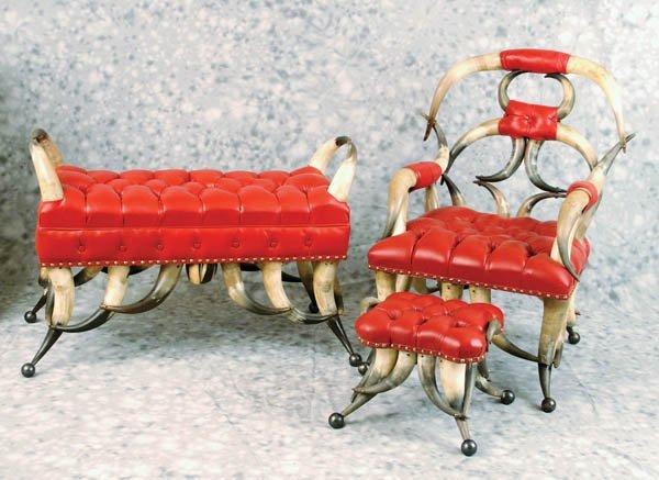 23: Matching 3 pc Set of Vintage Horn Furniture