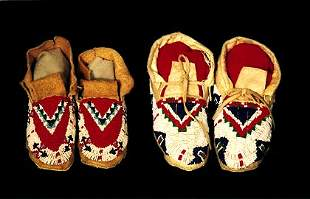 2 Pair of Beaded Sioux Moccasins White, re
