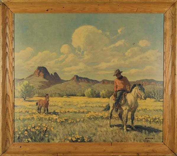 12: Pair of Cowboy Lithos by popular Tucson artist, Ray