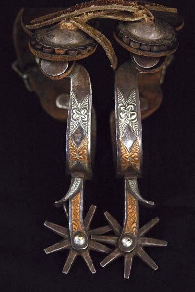 5: Iron Spurs with Two-Tone Inlays