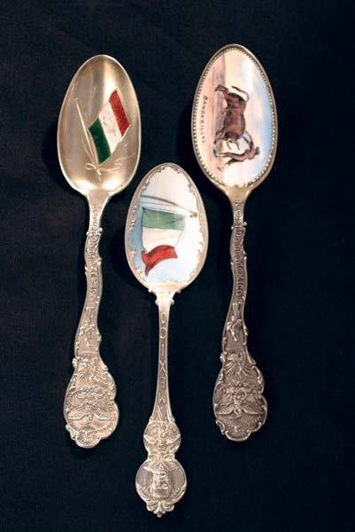 7: Three Enameled Mexican Bowl Spoons