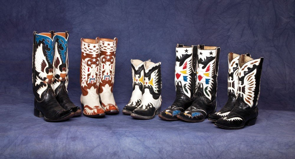 4: Lot Five (5) fancy inlaid Eagle Cowboy Boots