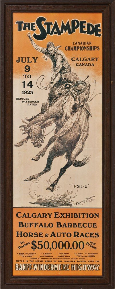 12: The Stampede Lithograph Poster by Ed Borein