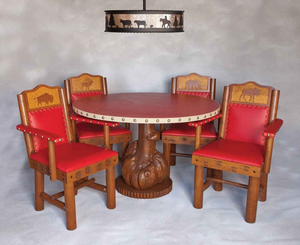 8:  New West Dining Table, Chairs, and Chandelier