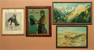 Lot of 4 Framed Miscellaneous Western PRINTS