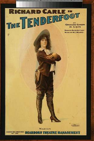 """""""The Tenderfoot"""" 1903 Playbill Lithograph"""