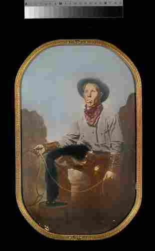 Hand tinted 1890's cowboy photograph 10 x 16,