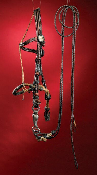 16: Braided two-tone leather BRIDLE & BOSAL