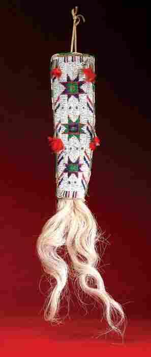 Sioux Beaded Hair Drop, Multicolored Beadwork