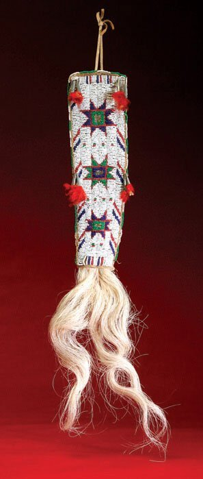 22: Sioux Beaded Hair Drop,  Multicolored Beadwork