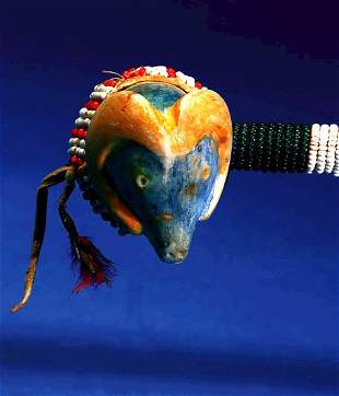 """16"""" long Sioux Beaded, Craved & Painted Stone Club"""