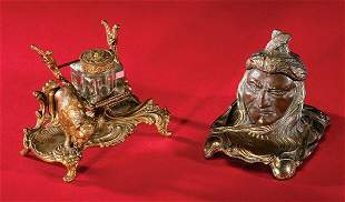 Pair of high quality Victorian Bronze INKWELLS