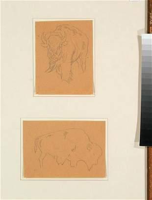 Pair of Edward Borein Buffalo Pencil Drawings