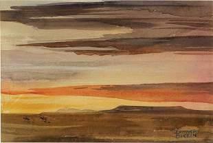 "Edward Borein ""Sunset on the Range"" Watercolor"