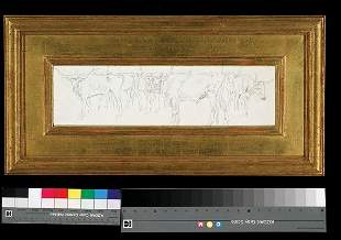 "Edward Borein 4"" x 15"" Longhorn Herd Drawing"